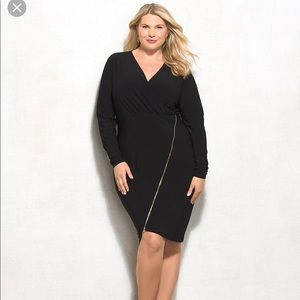 Ashley Graham Asymmetrical Long Sleeve Zip Dress